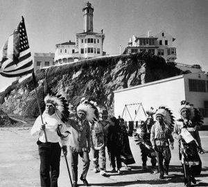 08 Mar 1964, San Francisco, California, USA --- A group of Sioux Indians protest at Alcatraz in an attempt to claim the land under the allowances provided in an 1868 treaty with the U.S. government. --- Image by © Bettmann/CORBIS