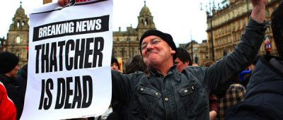 """A man reacts as he attends a gathering of people celebrating the death of former British prime minister Margaret Thatcher, in George Square in Glasgow, Scotland April 8, 2013. Margaret Thatcher, the """"Iron Lady"""" who transformed Britain and inspired conservatives around the world by radically rolling back the state during her 11 years in power, died on Monday following a stroke. She was 87.  REUTERS/David Moir (BRITAIN - Tags: POLITICS OBITUARY TPX IMAGES OF THE DAY)"""